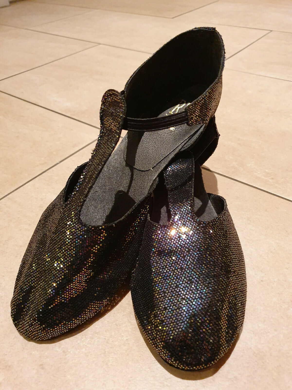 Roch Valley griechische Sandalen HGS - Tanzschuhe schwarz Glitzer