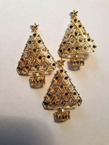 Eisenberg Ice Christmas Tree Pin Brooches.