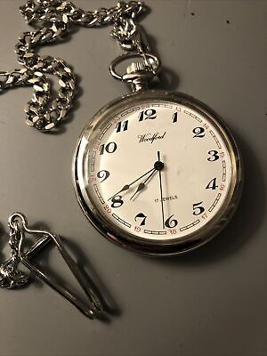 Woodford Chrome Plated 17 Jewel Mechanical Open Face Pocket Watch & Chain