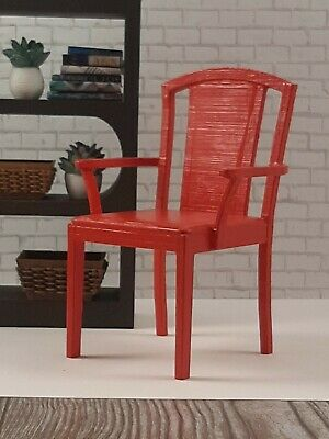 BARBIE-sized RED CHAIR furniture decor LIVING ROOM Dreamhouse FR IT 1/6