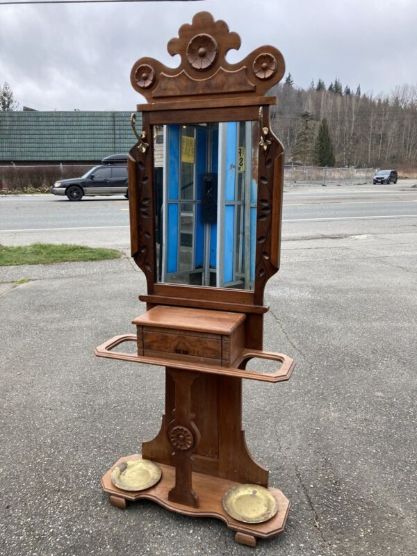 Antique Eastlake Victorian Hall Tree Halltree Stand Carved Ornate Mirror Walnut