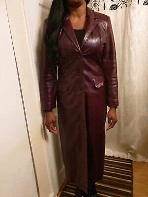 Vintage 90's Lady Trench Leather Jacket-Ashy London Size M - Wine