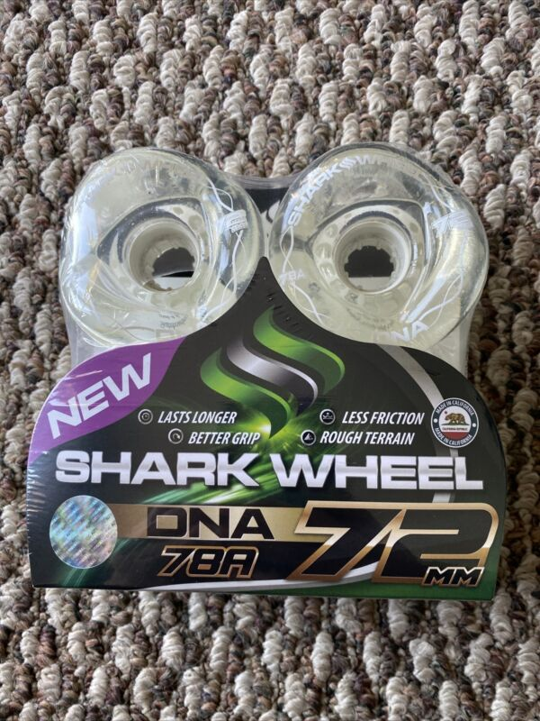 Shark Wheels Longboard Sidewinder DNATech 72mm 78a Clear White Core W Lettering