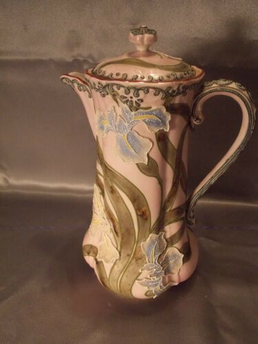 Antique Moriage Art Nouveau Deco Nippon Japan  Iris Porcelain Coffee Teapot Vase