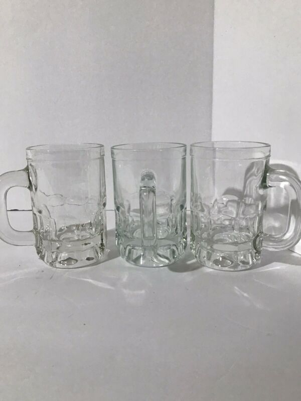 Set of 3 Vintage Small Child Root Beer Mugs Thick Glass