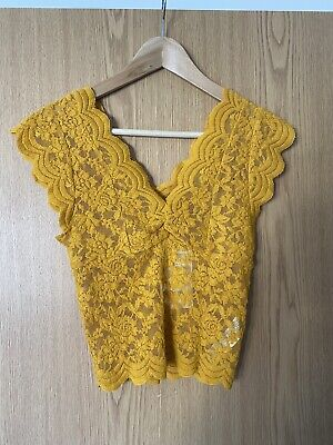 Zara Yellow Lace Crop Top Size Small Brand New With Tags