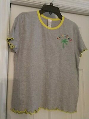"MESSY BUNS LAZY DAYS ""Talk to the Palm"" Embroidered SHIRT JUNIOR L NWT"