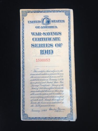 WAR SAVINGS CERTIFICATE SERIES 1919 WITH STAMP