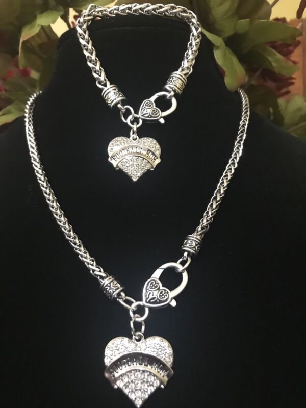 Football Mom Rhinestone Heart Sports Gift Set Football Mom Necklace and Bracelet