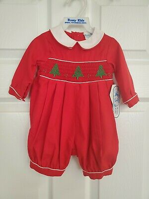 Vintage Rosey Kids Boys Red One-Piece Jumper Smocked Christmas Trees Size 3 Mos.