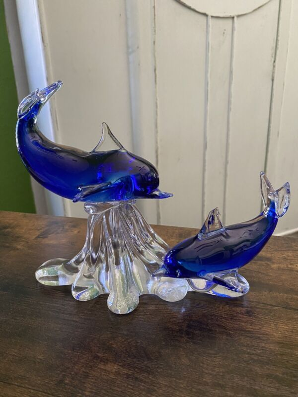 Murano Art Glass beautiful Blue double dolphin Mother and Calf Wave Figurine