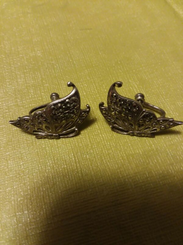 """Antique Sterling Silver Earrings With Rhinestones Butterfly Design 1""""H Stamped"""