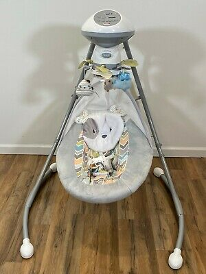 Fisher Price Baby Sweet Snugabunny Dreams Cradle n Smart Swing Rocker Technology