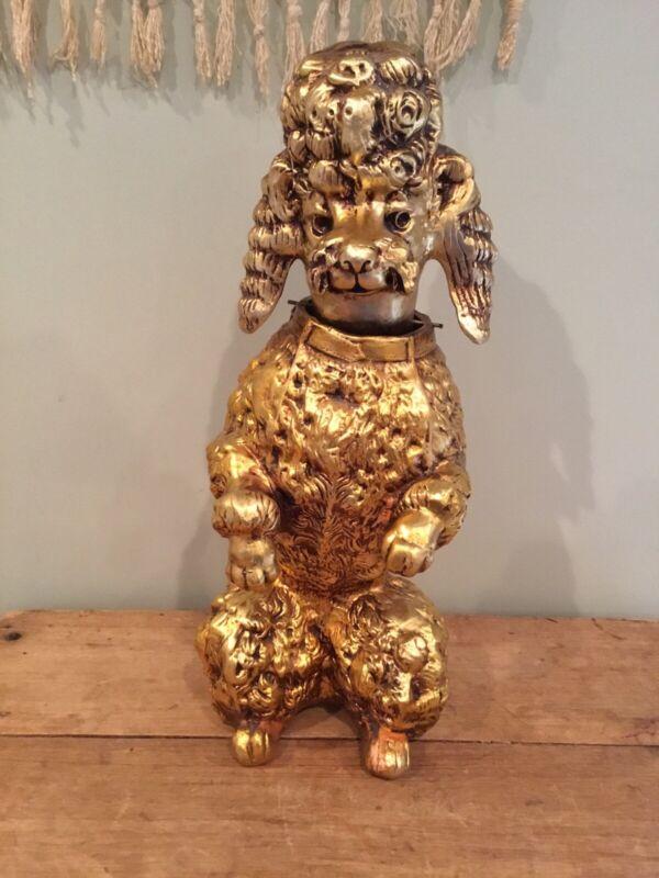 """Vintage Gold Large 21"""" Poodle Dog Nodder Bobble Head Hollywood Regency Ardalt?"""