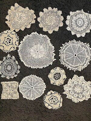 12 Lace Doilies Vintage Hand Made