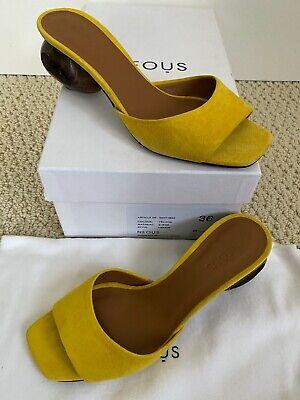 NIB NEOUS Liparis Yellow Suede Carved Heel Open Toe Mule Slide Sandals 36 6 $650