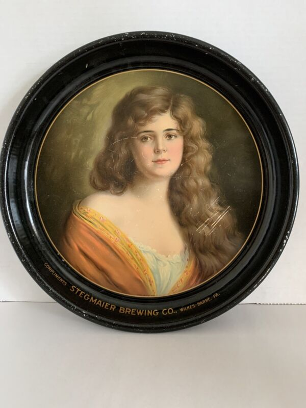 """STEGMAIER BEER -  BREWING 13"""" METAL TIN LITHO TRAY WILKES BARRE PA Gibson Girl"""