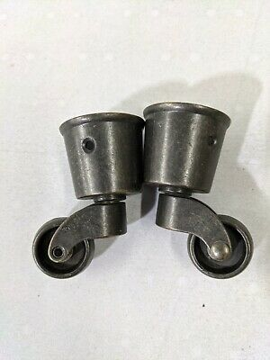 Set 2 Vintage Style Solid Brass Strong Swivel Caster Wheels Brass Round Cap W3