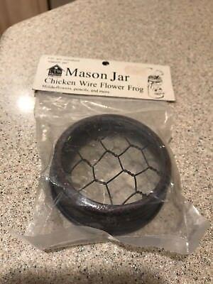 "Mason Jar Chicken Wire Flower Frog Lid in Crackle Black & Red Finish, 3"", NIP](Flowers In Mason Jars)"