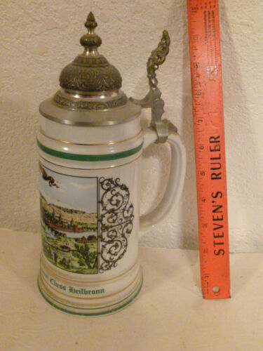 STEIN VINTAGE GERMANY LIDDED BY SAHM 125TH ANNIVERSARY OF HEILBRONN IN ARMY