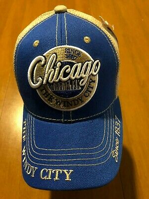 Windy City Fishing (Big Bear Premium Headwear Chicago (The Windy City) Baseball Cap - Blue &)