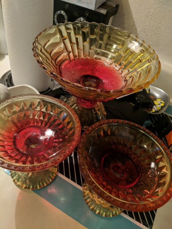 Set of 3 Vintage Red Yellow Carnival Glass Pedestal Diamond Candy Dish Compote