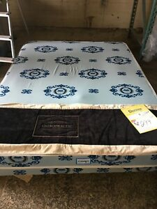 Queen size box spring, mattress and frame 299 obo