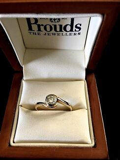 9ct Diamond Solitaire Solid Gold Ring