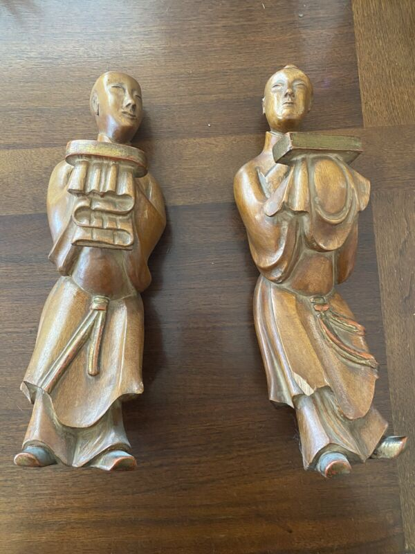 Pair Of Chinese Wood Sculptures