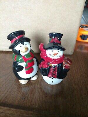 Salt And pepper Shakers Snowman Penguin Set - Snowman Salt And Pepper Shakers