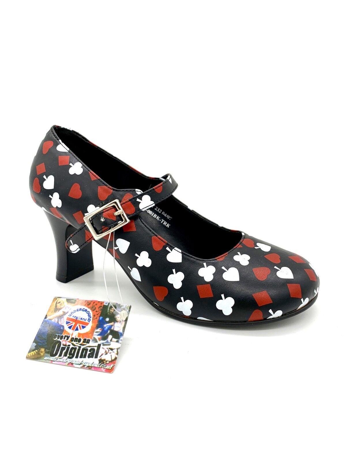 Underground England Damenschuhe Schuhe Pumps - Rockabilly Stil Pik Ass Herz Karo