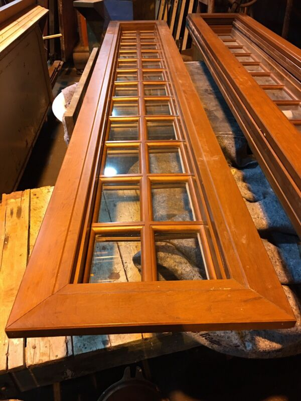 Large Wood Transom Window Glass Pane Window Architectural Salvage Frame 116""