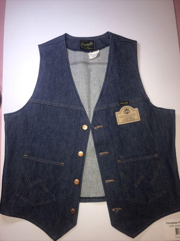 Mens Large Vest, 14oz Denim USA Vintage Wrangler, Benchmark Bourbon RARE 1960's