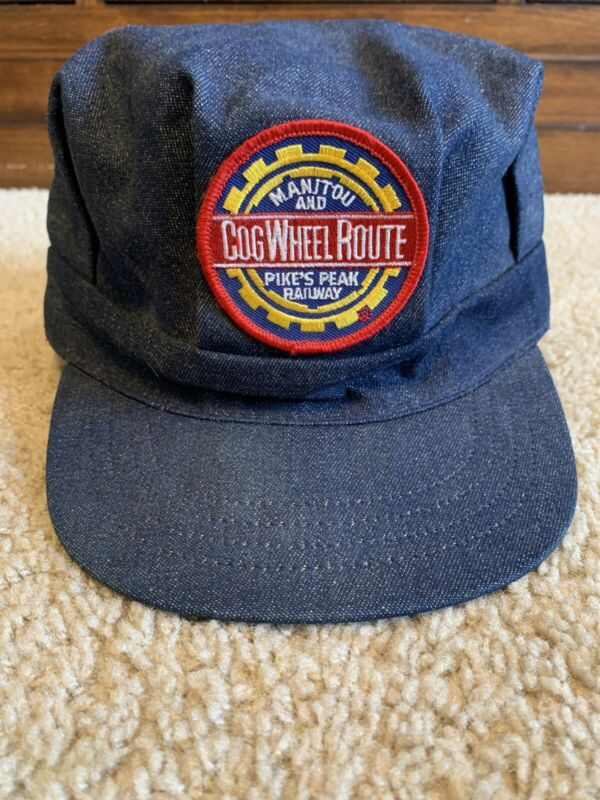Vintage Denim Manitou And Pikes Peak Railway Cog Wheel Route Hat Made In The USA