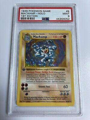 1999 Pokemon Base Set 1st Edition Shadowless Holo Machamp #8 PSA 9 MINT