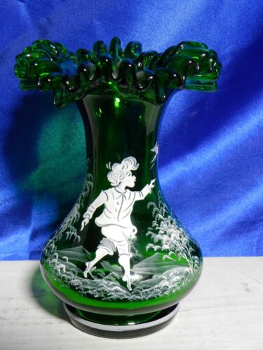 Vintage Egermann Hand-Painted Green Mary Gregory Inspired Vase VT2471