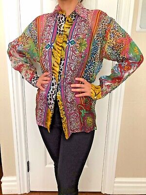 Rare Vintage Gianni Versace Versus Sheer Multi-color Print Size 40