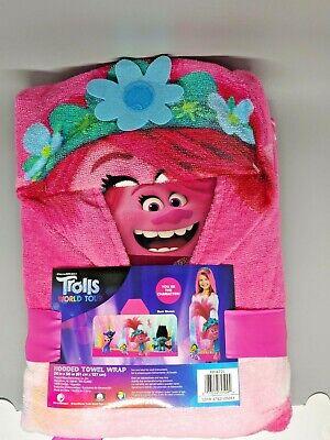 Dreamworks Trolls World Tour Hooded Towel Wrap 24 in X 50 in NEW Child Bath