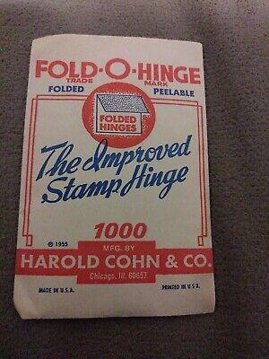 Fold-O-Hinge 1955 Unopened Packet of 1000 Improved Stamp Hinges