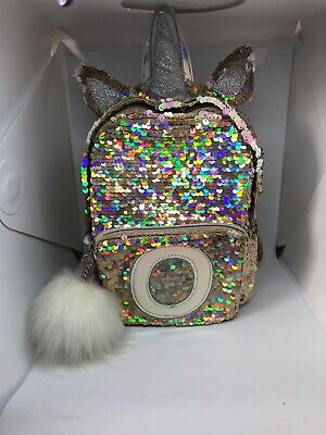 Justice Backpacks For Kids (JUSTICE FOR GIRLS INITIAL O MINI BACKPACK UNICORN FLIP SEQUIN GOLD)