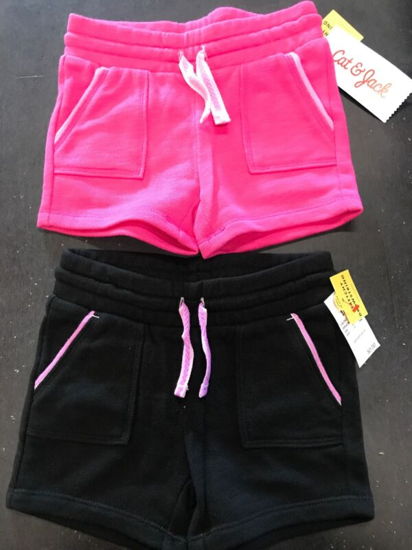 Cat & Jack Toddler Girls Size 4T Two Pair Knit Shorts Black Pink Pull On NWT