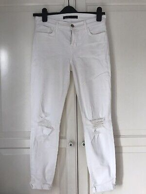 RRP€110 J BRAND Jeans Size 27 Stretch White Colour Ripped Mid Waist Slim
