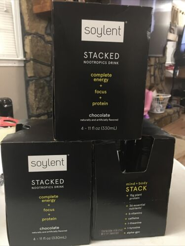 Soylent 12 Pack Of Stacked Chocolate Complete Energy Drink, 11 Oz Exp 3/3/21