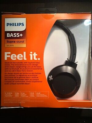Philips BASS + On-Ear Headphones with Mic - Black SHL3075BK New Hands Free Calls