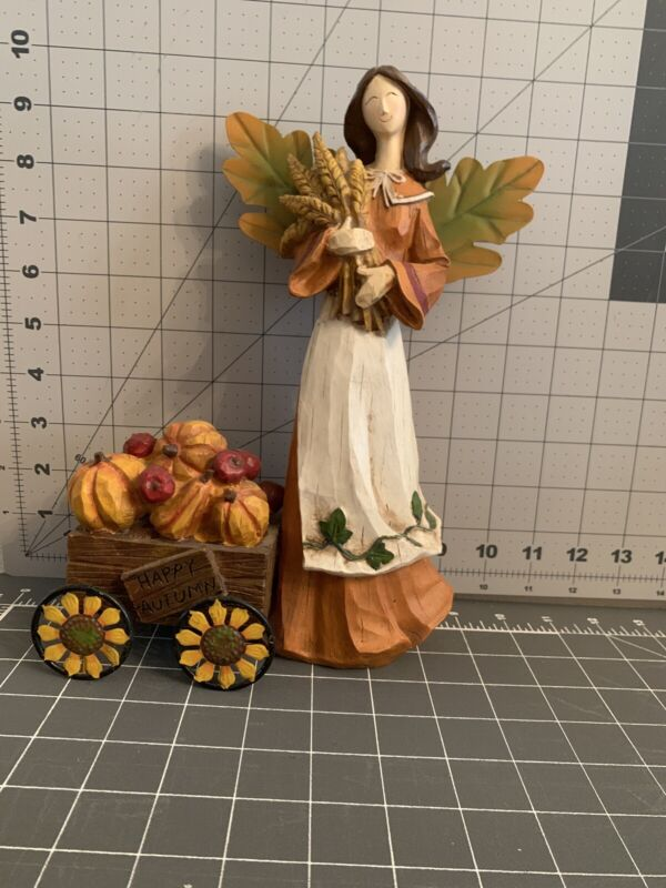 Happy Autumn Resin Angel With Pumpkin Filled Wagon
