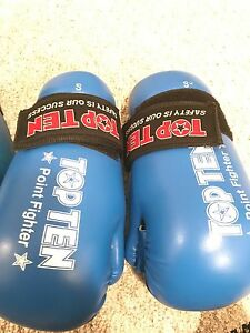Top ten sparring gear blue, taekwondo $60