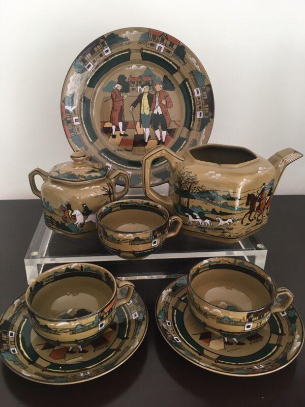 "Buffalo Pottery Deldare Ware 1909 8 Pcs Tea Set w/ Cups Tea Pot & Plate 9 1/2"""