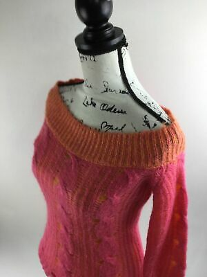 Day Trip Cable Sweater - DAYTRIP Women's Pink/Orange Cable Boatneck Collar Long Sleeve Sweater Size L