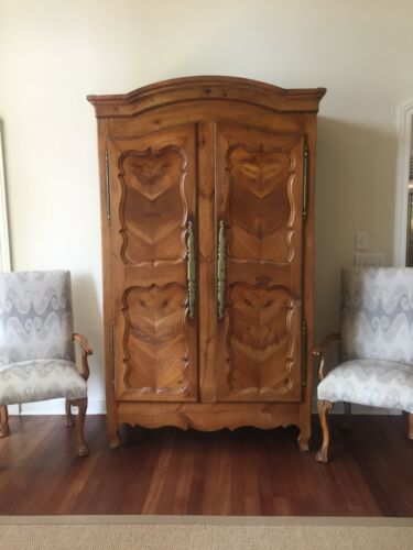 Country French Provincial Louis XV Walnut Armoire