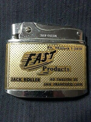 Vtg Cigarette Lighter, advertising Fast Maintenance Products of San Francisco